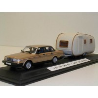 Volvo 240 GL 244 1986 goud met. Minichamps + SMV Caravan 1:43