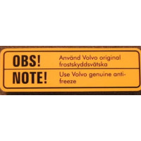 Sticker Volvo koelvloeistof  OBS / NOTE - 1963 ?