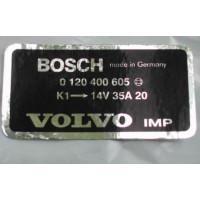 Sticker dynamo Bosch 35 Ampere Volvo B20