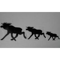 Sticker eland familie set van 3 stuks; 60+90+125 mm. zwart