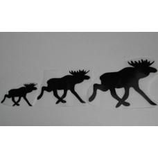 Sticker eland familie set van 3 stuks; 60+90+125 mm. zwart RECHTS