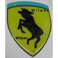 3D sticker eland steigerend wapen KLEIN 28 x 36 doming