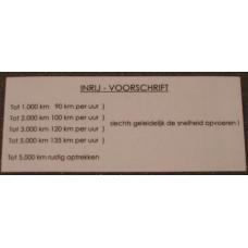 Sticker inrij instruktie NEDERLANDS / TRANSPARANT