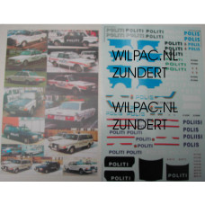 Sticker set 1:43 Skandinavische Volvo 244/245 POLITIE watertransfer