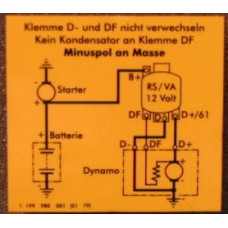 Sticker Volvo spanningsregelaar gelijkstroom. B18