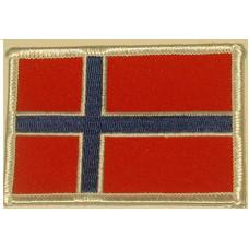 Badge Noorse vlag / geborduurd / opstrijkbaar / rechthoek RH