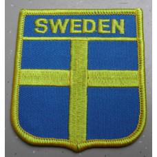 Badge Zweeds vlag schild + SWEDEN / geborduurd / opstrijkbaar