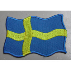 Badge Zweedse vlag wapperend / geborduurd / opstrijkbaar