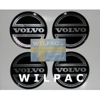 3D SET van 4 stickers v. wieldop Volvo 90 mm CORONA chroom dome