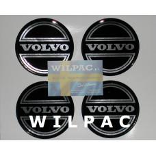 3D sticker 4x = set wieldop Volvo 90 mm CORONA chroom dome