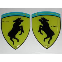 3D SET van 2 stickers steigerende eland L + R KLEIN wapen doming 28 x 36