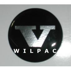3D sticker wieldop V 42 mm. chroom dome gedomeerd Volvo