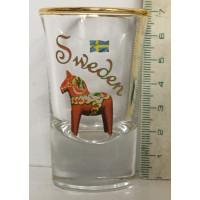 Shotglas Sweden met Zweedse vlag en Dalarna paard / 40 ml.